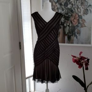London Times black and cream sheer party dress